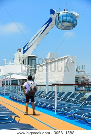 Shanghai, China - Jun 3, 2019. The Northstar Observation Tower At The Newest Royal Caribbean Cruise