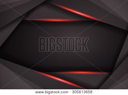 Abstract Metallic Modern Red Black Frame Design Innovation Concept Layout Background. Technology Bac