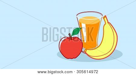 Glass Of Orange Juice With Apple And Banana Fresh Fruits Healthy Food Concept Sketch Hand Drawn Hori