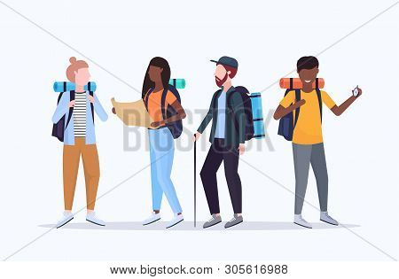 Group Tourists Hikers With Backpacks Holding Compass And Travel Map Searching Direction Hiking Conce
