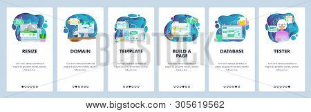 Mobile App Onboarding Screens. Image Resize, Www Domain Internet, Template, Database. Menu Vector Ba
