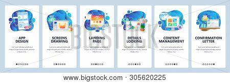 Mobile App Onboarding Screens. Mobile App Design, Landing Page, Web Development, Content Management.