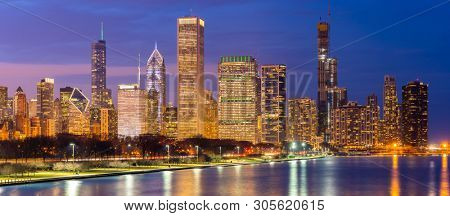 poster of Panorama of Chicago downtown Cityscape skylines and skyscrapers office building with Lake Michigan sunset in Chicago city Illinois USA.