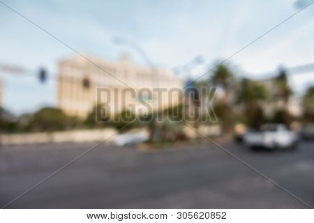 Abstract Blurred background of Las Vegas strip boulevard in Las Vegas city Nevada USA poster
