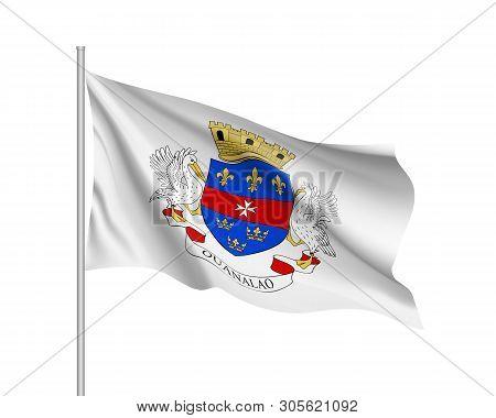 Waving National Flag Of Saint Barthelemy Island. Illustration Of Caribbean Country Flag On Flagpole.