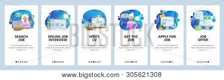 Mobile App Onboarding Screens. Job Search, Hr, Online Job Interview, Cv And Work Offer. Menu Vector