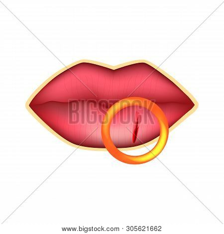 Cracks in the lips. Dry chapped lips. Infographics. illustration on isolated background. poster