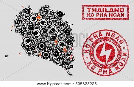 Composition Of Mosaic Power Supply Ko Pha Ngan Map And Grunge Seals. Mosaic Vector Ko Pha Ngan Map I
