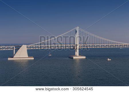 Scenic View Of Busan Gwangandaegyo Bridge (diamond Bridge), A Suspension Bridge Connecting Haeundae-