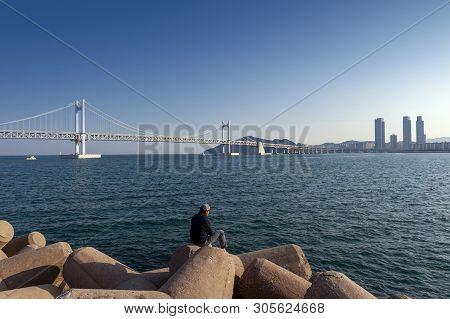Busan, South Korea - April 2019: Scenic View Of Busan Gwangandaegyo Bridge (diamond Bridge), A Suspe
