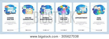 Mobile App Onboarding Screens. Online Medical Consulting, Chat With Doctor, Sick Patient. Menu Vecto