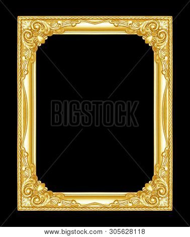 The Antique Gold Frame Isolated On The Black Background