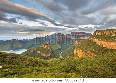 Blyde River Canyon Panorama From Viewpoint Over Panoramic Scenery Of Three Rondavels In Mpumalanga S
