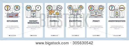 Mobile app onboarding screens. Pivate security, keylogger, spyware, instant messaging, smartphone encryption. Menu vector banner template for website and mobile development. Web site flat illustration poster