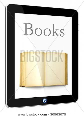 Book and iPad teblet computer 3D model isolated on white, digital library concept, Objects with Clipping Paths