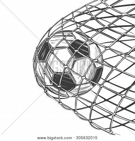 Football, Soccer Ball, Goal Came In The Gate, Win, Sports Game, Emblem Sign, Hand Drawn Vector Illus