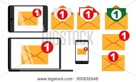 Concept Unread Email Message Notify Set Vector. New Digital Notify Letter Mail On Electronic Device