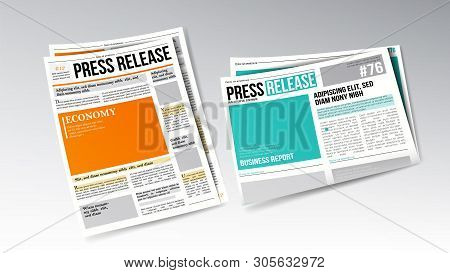 Newspaper Press Release With Headline Set Vector. Colorful Bright Design Template Of Release Daily I