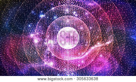 Abstract Deep Space Nebula Field With Stars Vector. Colorful Design Large Galaxy Planetary Nebula Lo