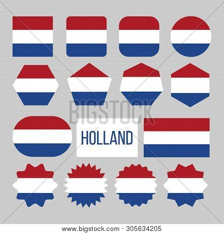 Holland Flag Collection Figure Icons Set Vector. Horizontal Triband Of Red Bright Vermilion, White,