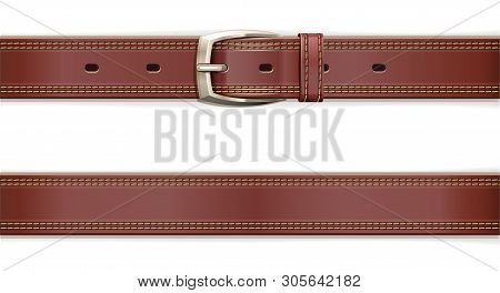 Leather Belt With Metallic Clasp. Clothes Accessory. Seamless Pattern. Fashion Detail. Trendy Clothe