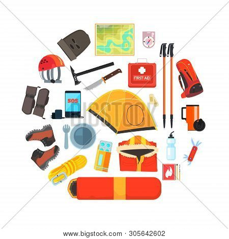 Expedition Equipment Set, Hiking, Camping And Mountaineering Tools, Tourism, Expedition Symbols Vect