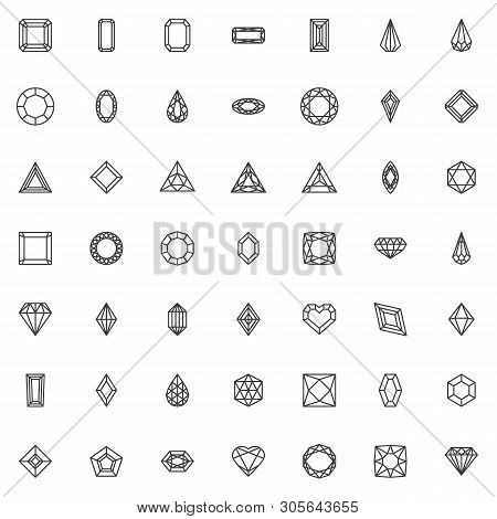 Various Diamond Shapes Line Icons Set. Linear Style Symbols Collection, Outline Signs Pack. Vector G