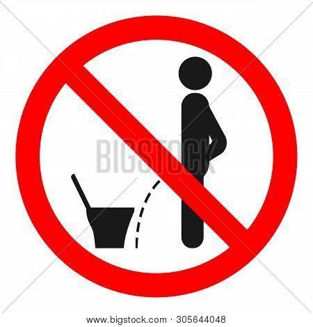 Do Not Pee On Floor Sign. Vector Illustration.