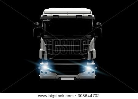 Big White Truck In The Dark: 3d Illustration