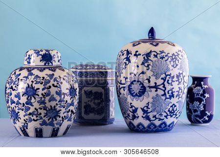 Still Life With Blue And White Ceramic Pots And Ginger Jars With Differential Focus