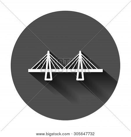 Bridge Sign Icon In Flat Style. Drawbridge Vector Illustration On Black Round Background With Long S