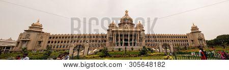Bangalore India - June 3, 2019 : Panoramic View Of Vidhana Soudha At Bengaluru