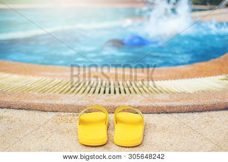 Young Boy Drowning In The Pool Swimming