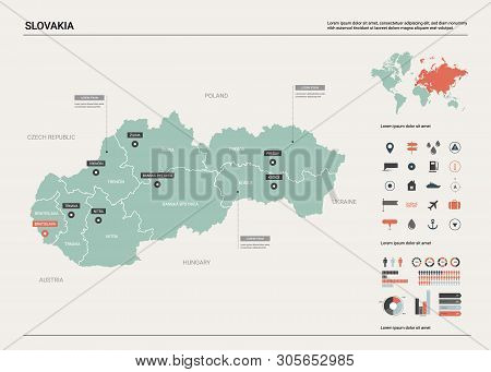 Vector Map Of Slovakia. Country Map With Division, Cities And Capital Bratislava. Political Map,  Wo