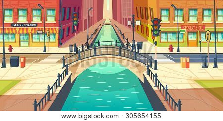 City Quay, Water Channel On Town Street Cartoon Vector With Empty Sidewalks, Grocery Store And Bar O
