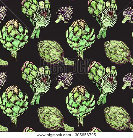 Vector Background, Sketch Artichoke. Pattern Illustration Of Vegetable.