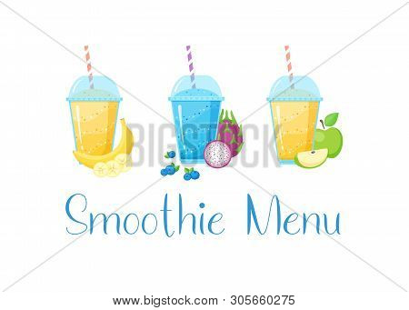 Smoothie Vitamin Drink Set Vector Illustration. Fresh Vegetarian Smoothies Drink With Colorful Layer