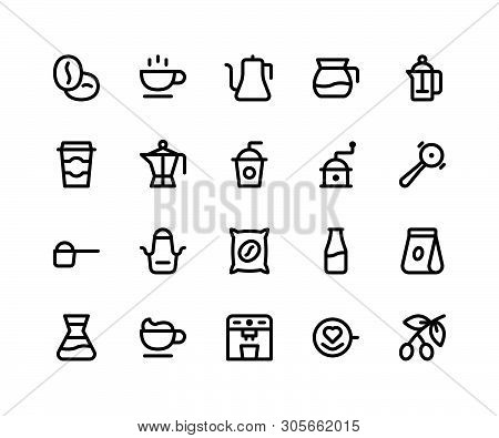 Simple Set Of Coffee Shop Related Vector Line Icons. Contains Such Icons Beans, Cup, Kettle, Grinder