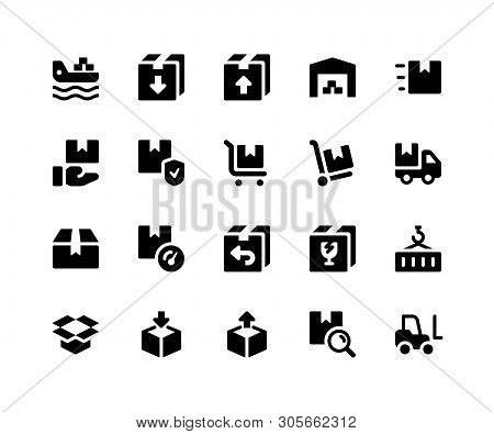 Simple Set Of Logistic Related Vector Glyph Icons. Contains Such Icons Asfreighter, Package, Invent