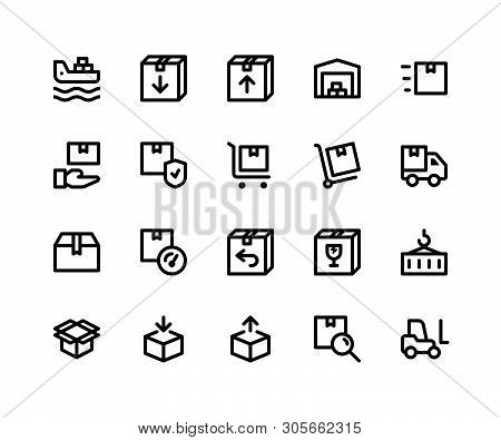 Simple Set Of Logistic Related Vector Line Icons. Contains Such Icons Asfreighter, Package, Invento