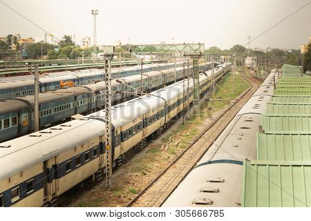 Bangalore India June 3, 2019 : Aerial View Of Stack Of Trains Standing At Railway Track At Railway S