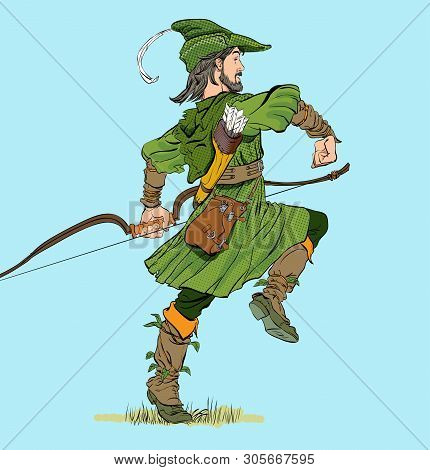 Marching Robin Hood. Robin Hood In A Hat With Feather. Defender Of Weak. Medieval Legends. Heroes Of