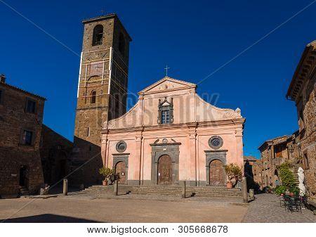 Civita Di Bagnoregio, Italy - May 3: Saint Donatus Church In The Main Square Of Civita Di Bagnoregio