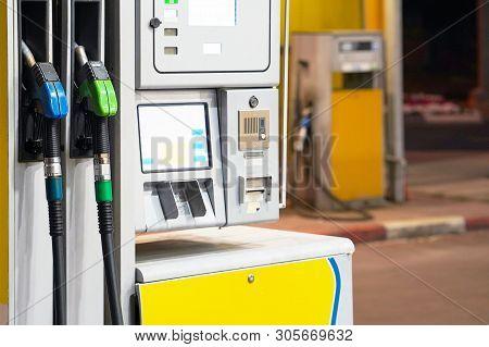 Gasoline Station Gas Fuel Pump. Petrol Pump In Gas Station. Gas Station In A Service. Gas Pump Nozzl