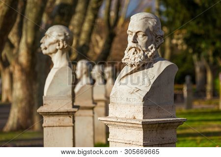 Rome, Italy - February 11, 2017: Statues Of Italian Patriots And Heroes On The Janiculum In Rome Feb