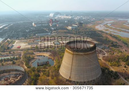Chernobyl Nuclear Power Plant. Cooling Tower Overlooking The Nuclear Power Plant In Chernobyl. View