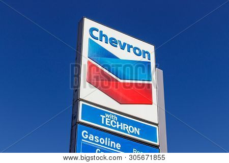 Las Vegas - Circa June 2019: Chevron Retail Gas Station. Chevron Traces Its Roots To The Standard Oi