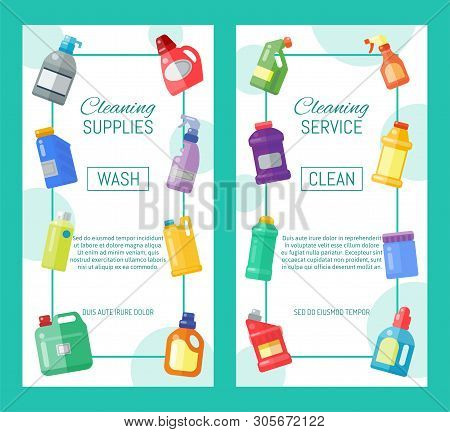 Cleaning supplies banner household bottle plastic liquid detergent product vector illustration. Cleaner disinfect equipment packaging. Cleanup care housekeeping fluid container. Housework tools. poster