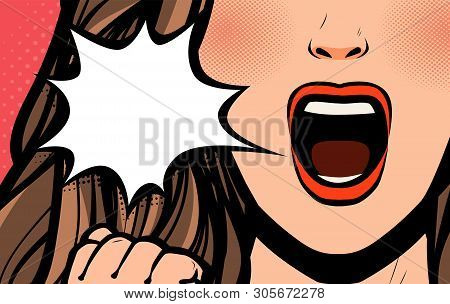 Beautiful Girl Or Young Woman Screaming. Pop Art Retro Comic Style. Cartoon Vector Illustration