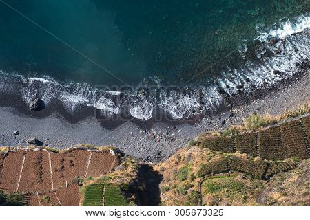 Top View On Shhore And Fields From Cabo Girao Cliff In Madeira Portugal Island